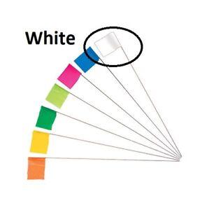 """Keson 21"""" Wire Surveyor Stake w/ 2.5"""" x 3.5"""" WHITE Marking Flag, 100-Pack STK21W"""