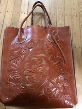 Patricia Nash Cavo Italian Leather Shoulder Bag Tote Purse With Floral Cut Out.