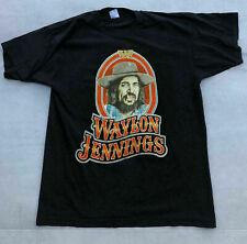 Vintage 70s 80s Waylon Jennings Concert Tour Country Rock Tee T-Shirt