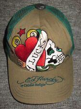 ED HARDY Green Heart Skull LUCK TRUCKER HAT Baseball Snapback Cap ONE SIZE Nice!