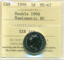 Double 1998 Canada Five Cent Certified ICCS MS-67 NBU