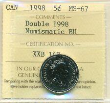 Double 1998 Canada Five Cent Certified ICCS MS-67 NBU