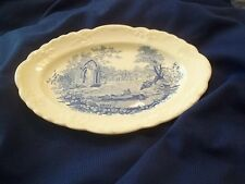 Taylor Smith Taylor ENGLISH ABBEY Blue Transferware Gravy Boat Liner Under Plate