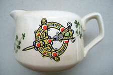 Carrigaline Pottery Co Cork Ireland Shamrock Pattern Creamer Gold Trim & Shield