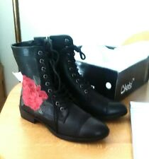Black Faux Leather, Red Rose Embroidered, Flat Ankle Boots UK5, New.