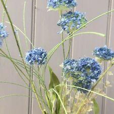 Deep Blue Artificial Cornflower Mix Meadow Wild Flower Spray & Greenery