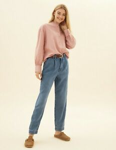 Ex M&S Per Una Womens Ladies Marks Spencer Tencel Tapered Ankle Grazer Jeans