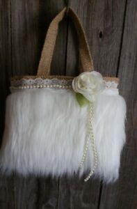 Burlap and lace flower Girl Basket, Rustic, hippie, boho, fur, ivory