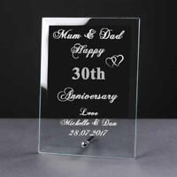 Personalised Engraved 30th Anniversary Glass Plaque Elegant Gift Anni-30-1