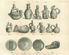 Inca pottery Poterie Incas Pots South America Ter GRAVURE ANTIQUE OLD PRINT 1853
