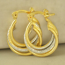 Filled Embossed Womens Hoop earing Fashion Intricate 14K Yellow White Gold