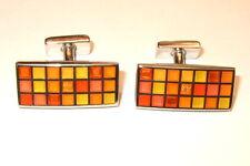 Thomas Pink Cufflinks Silver Yellow Orange Mosaic Enamel squares