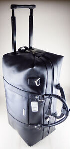 Brooks Brothers Duffel Travel Bag - Wheeled Rolling - Black Leather NWT $398 New