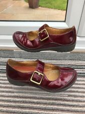 CLARKS Artisan Unstructured Burgundy Patent Mary Jane Shoes UK 4.5 red leather