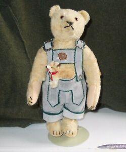 ANTIQUE STEIFF TEDDY BEAR 11.5 INCHES HIGH CIRCA 1920 WITH BUTTON IN EAR