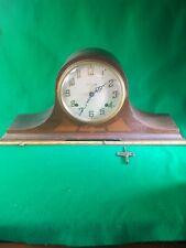 Vintage Ingraham Eight Day Wood Mantle Clock works needs pendulum with key