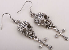 Skull skeleton drop&dangle earrings fashion jewery gifts for women silver QEM35