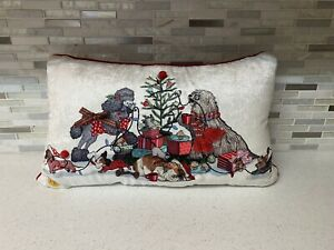 """Pier 1 Imports PARK AVENUE PUPPIES HOLIDAY 19"""" Cotton Throw Pillow Lights Up"""