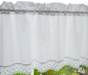 Kurzgardine Scheibengardine Weiß mit Spitze 5D - H 36+4 cm - B 120 cm