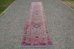 Pink Runner Turkey Rug, Pastel Runner  Kilim Oriental, Tribal Hallway Rug Runner