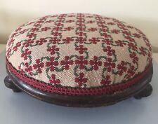 British Handmade Tapestry Foot Stool - Red/Green Floral Geometric Lattice Design