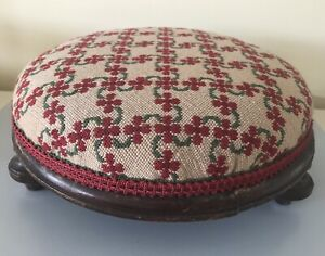 British Handmade Tapestry Foot Stool - Red/Green Floral Geometric Lattice Design