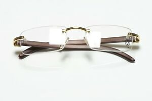 CARTIER Paris Rimless Wood Frame Unisex Eyeglasses Made in France
