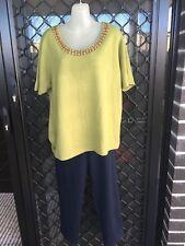 Miller's Women's Top - Green, Knit, Scoop Neck w/ Beads, Short Sleeve - Size XL
