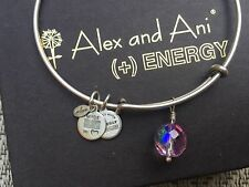 ALEX and ANI LAVENDER PINK OONA Drop Charm BEADED Bangle SILVER Bracelet💎
