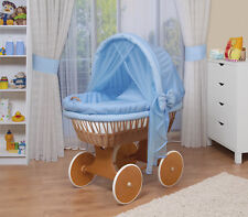 WALDIN Baby Bollerwagen,Stubenwagen,komplett mit Zubehör,XXL,Stoffe Blau/kariert