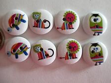8 x 15mm Painted Wooden Buttons - STRIPEY LITTLE ANIMALS - 2 Holes  No.937