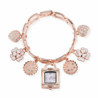 STRADA Crystal Enamled Japanese Movement Multi Charm Bracelet Watch in Rosetone