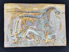 """Bantam Tileworks Large 6.5"""" x 9.5"""" LION Pottery Tile, USA"""
