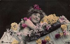 Tinted Real Photo Postcard Little Girl in a Photo Studio with Roses~110674