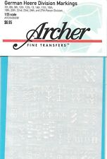 Archer Transfers (Decals) German Heere Division Markings Signs White AR35080W
