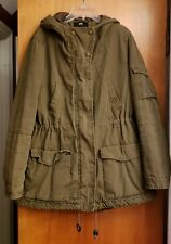 H&M Army Green Hooded Quilted Cargo Anorak Jacket US 10 Eur 40 EUC