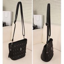 Women PU Leather Handbag Bag Tote Shoulder Cross Body Skull Rivets Black AU
