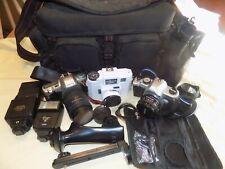 Large Lot of Vintage Film Cameras and Accessories Pentax Holga Flash Untested
