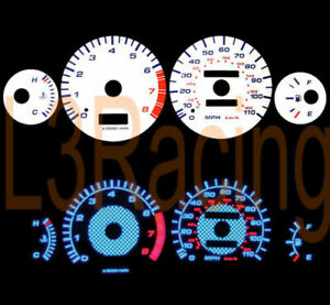 93-97 TOYOTA Corolla L4 CARBON Style REVERSE BLUE EL GLOW WHITE GAUGES