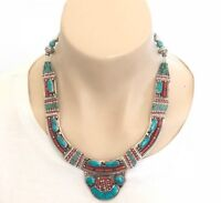 NL-06 Antique Style Handmade Nepalese Artisan Tibetan Turquoise Coral Necklace