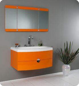 "Fresca Energia 36"" Orange Modern Bathroom Vanity w/ Three Panel Folding Mirror"