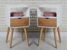 2 Designer Retro Beistelltische Nachtschränke Nachttische Holz weiß natur