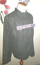Nwt Jaclyn Smith Womens 14 Green Military Collar Jacket Faux Suede Paisley New
