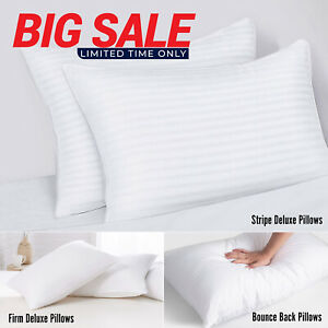2 Pack Extra Filled Pillows Bounce Back, Firm Deluxe Or Pillowcases Pair Pack