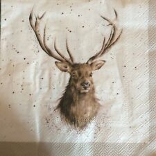paper napkins decoupage x 2 wrendale Christmas stags 33cm
