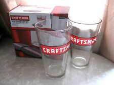 2 Craftsman Tools Pint Glass Gift Set 16 oz Pint Beer Glasses with Tin Coasters