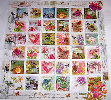 4 Servietten Ganzmotiv Collage Vintage Briefmarken Natur kleine Motive