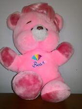 Vintage Pink Bear Plush Stuffed Animal Pink Hair Korea Clean Cute Bear
