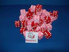 NEW 200 ASSORTED OPAQUE DICE 16mm RED AND PINK, 2 COLORS 100 OF EACH COLOR