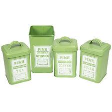 4 pc Retro Green Enamel Tea Coffee Sugar & Utensil Tins Kitchen Storage Pot Jars